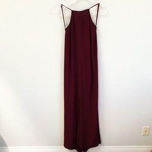 Reformation Open Back Maxi Dress Maroon Front Slit